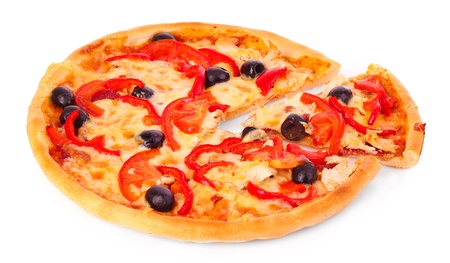 Pizza with olives and tomatoes closeup Stock Photo - 10394962