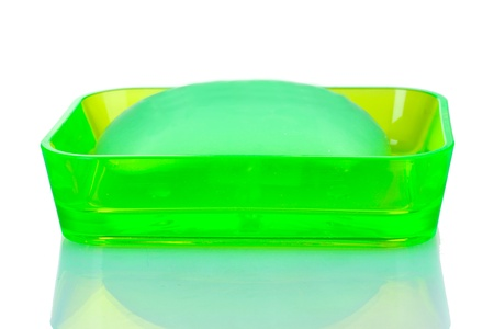 green soap dish and soap isolated on white Stock Photo - 10394943