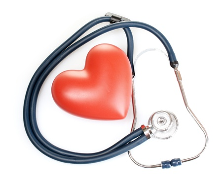 Medical stethoscope and heart isolated on white Stock Photo - 10406812