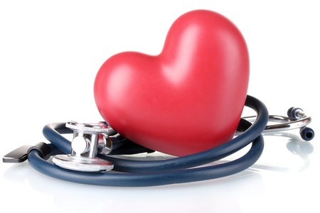 Medical stethoscope and heart isolated on white Stock Photo - 10407151