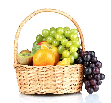 nonfat: Ripe juicy fruits in  basket isolated on white
