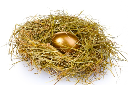 a house with a straw: golden eggs in nest isolated on white