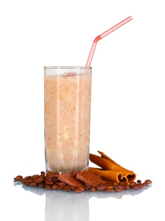 chocolate shake: Chocolate smoothie in glass isolated on white Stock Photo