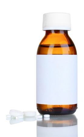 cough medicine: Liquid medicine in glass bottle and pills isolated on white