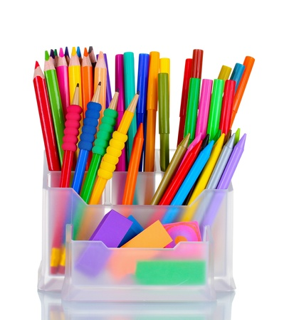 Bright pens, pencils and erasers in holder isolated on white Stock Photo - 10470817