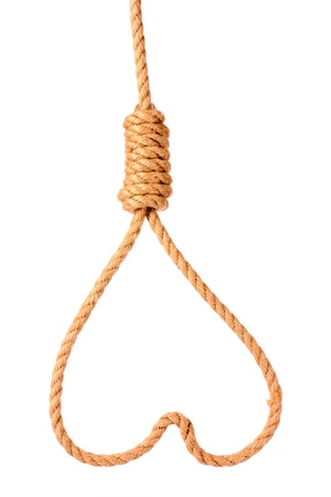the end: Suicide Noose in heart  symbol isolated on white