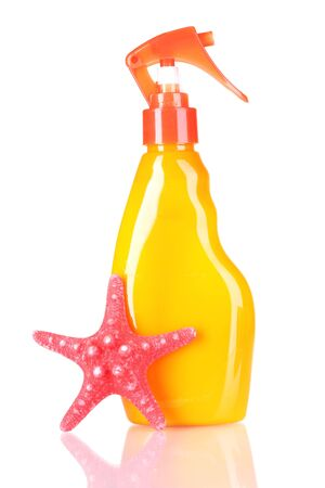sunblock in bottle and starfish isolated on white Stock Photo - 10499265
