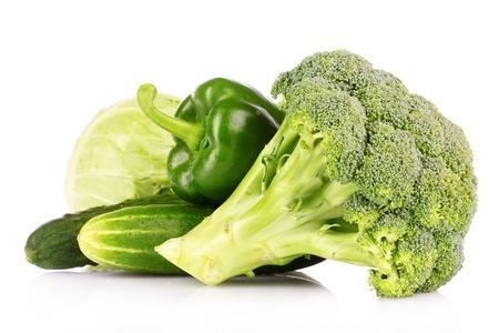 green vegetables: Green vegetables isolated on white