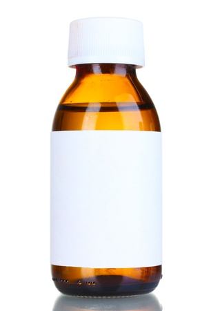 Liquid medicine in glass bottle isolated on white photo