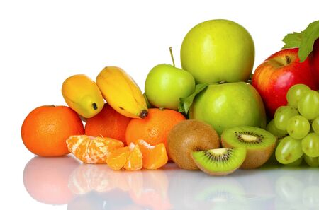 nonfat: Ripe juicy fruits isolated on white Stock Photo