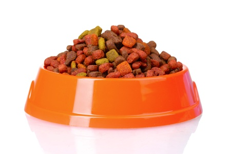 Dry cat food in bowl isolated on white Stock Photo - 10512919