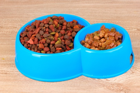 Dry cat food in bowls on wooden background Stock Photo - 10512930