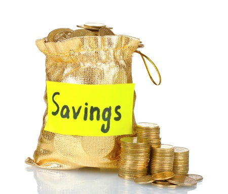 saving tips: Golden bag for tips with money isolated on white Stock Photo