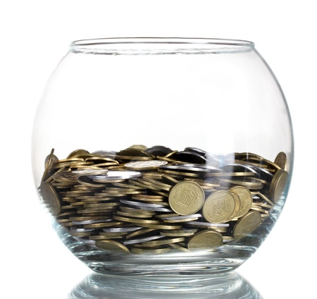 Clear glass jar for tips with money isolated on white. Ukrainian coins Stock Photo - 10606497