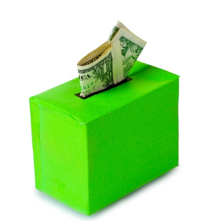 Tips box for money isolated on white photo