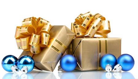 Beautiful gifts in gold packaging and Christmas balls isolated on white Stock Photo - 10565149