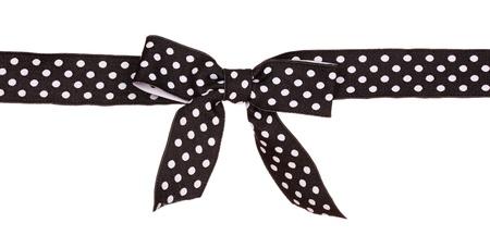 nudos: cinta negra con puntos aislados en blanco Foto de archivo