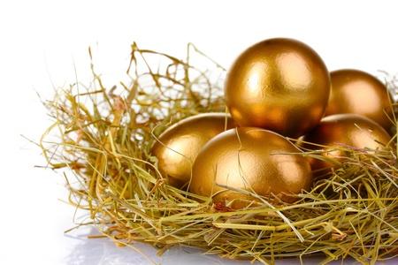 whiteness: golden eggs in nest isolated on white