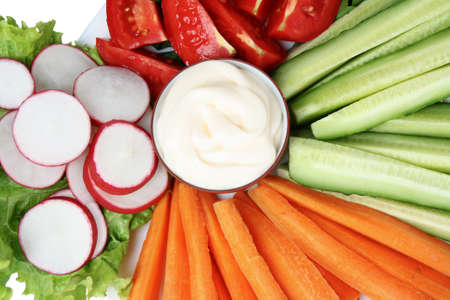 Chopped vegetables and sauce on plate closeup Stock Photo - 10753889
