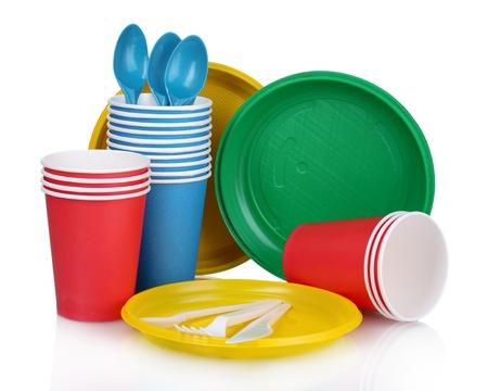 bright plastic tableware isolated on white Reklamní fotografie