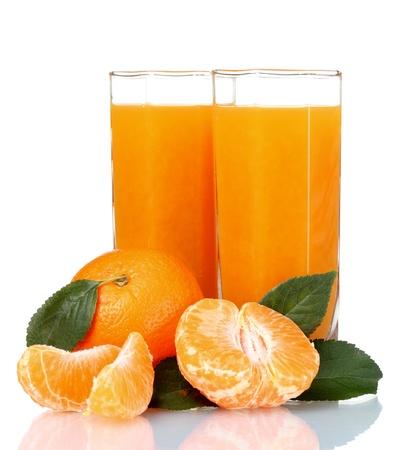Glass of fresh tangerine juice isolated on white photo