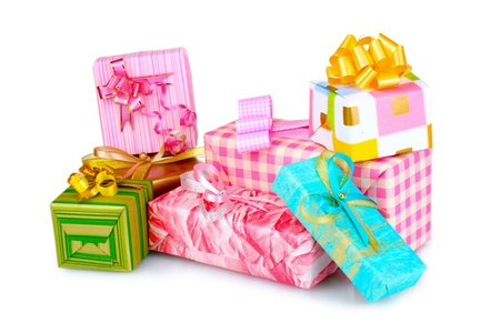 Beautiful bright gifts isolated on white photo