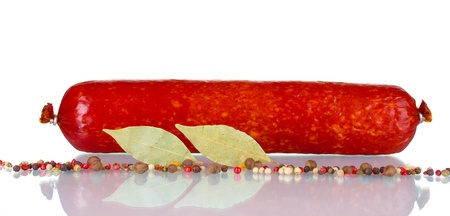Tasty sausage and spices isolated on white Stock Photo - 10752710