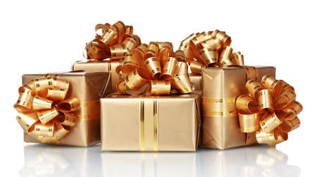 Beautiful golden gifts isolated on white