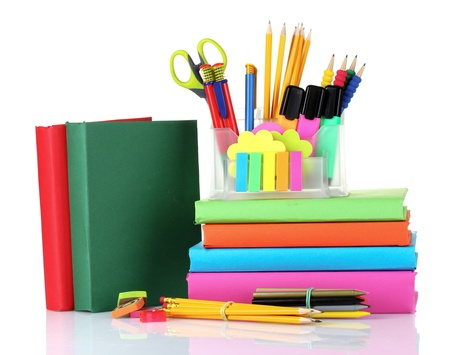 papeteria: jasne papierniczych i książek na białym tle Zdjęcie Seryjne