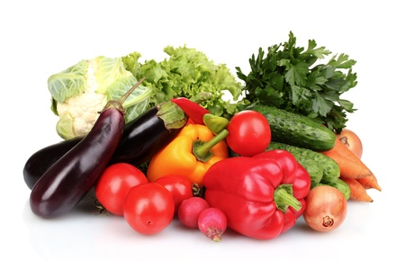 produces: Fresh vegetables isolated on white
