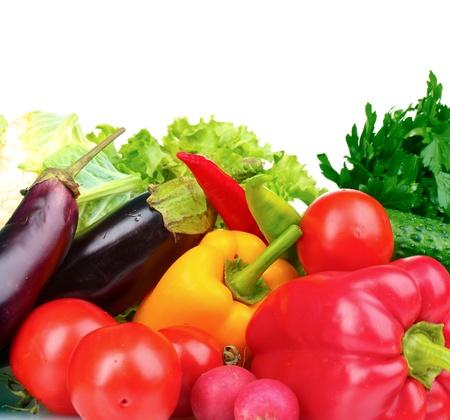 Verse groenten op wit wordt geïsoleerd Stockfoto