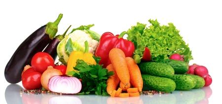 vegetables: Fresh vegetables isolated on white