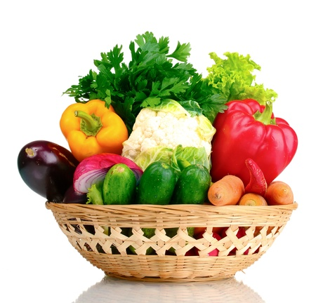 Fresh vegetables in basket isolated on white Stock Photo - 10817652