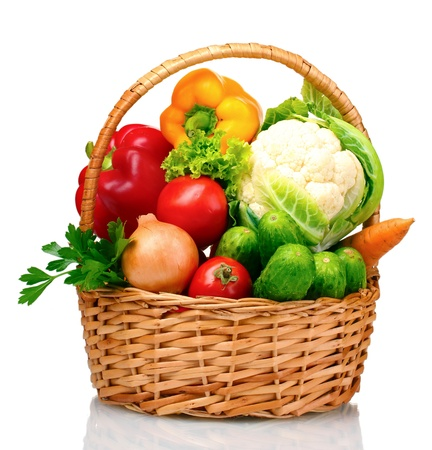 basket: Fresh vegetables in basket isolated on white