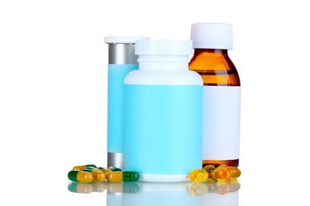 contain: Medical bottles and pills isolated on white