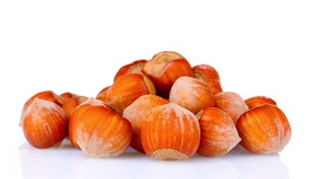 hazelnuts isolated on white photo