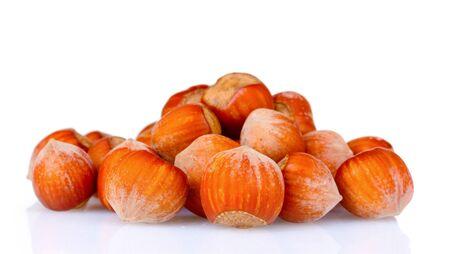 hazelnuts isolated on white photo