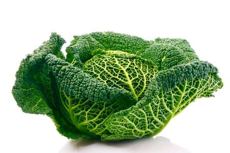 globular: Savoy cabbage isolated on white