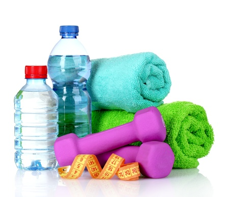 towel, dumbbells and water bottle isolated on white Stock Photo - 10940741