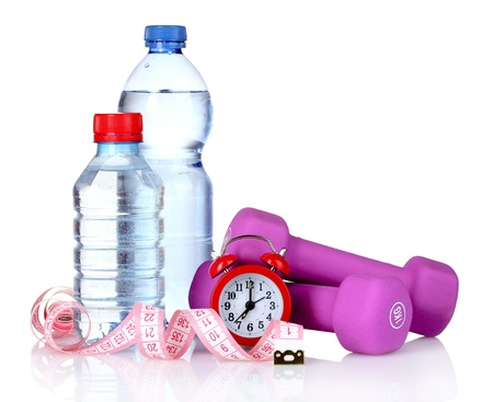 towel, dumbbells and water bottle isolated on white Stock Photo - 10940805