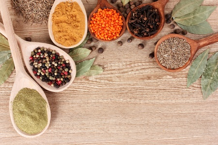 spices in the spoons on wooden background photo