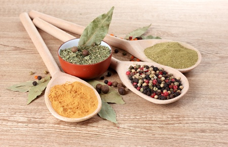 spices in the spoons on wooden background Stock Photo - 10940577