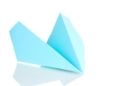 origami paper: Origami paper airplane isolated on white Stock Photo