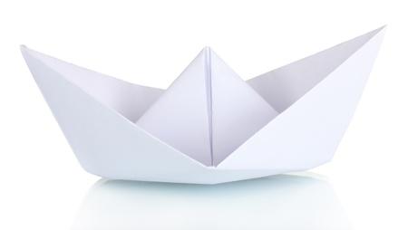paper craft: Origami barco de papel aislado en blanco Foto de archivo
