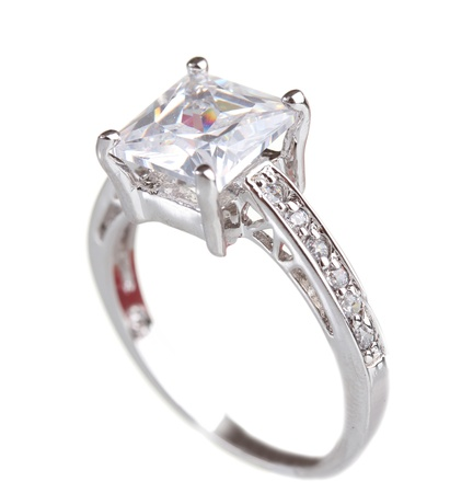 engagement ring: beautiful ring with gem isolated on white