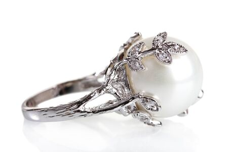 diamond jewellery: beautiful ring with pearl isolated on white Stock Photo