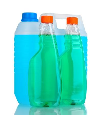 canister with liquid and detergent bottles isolated on white Stock Photo - 11070204
