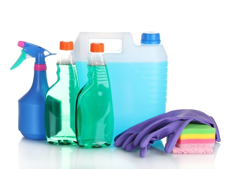 canister with liquid and detergent bottles isolated on white Stock Photo - 11070324