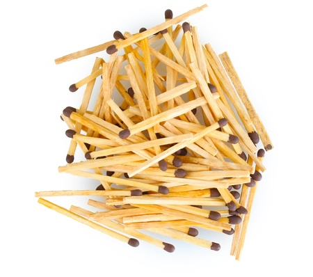 elongated: pile of matches isolated on white