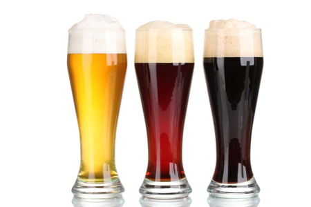 three glasses with different beers isolated on white Stock Photo - 11070234